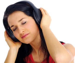 brunette listening to the music